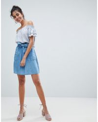 Oasis - Paperbag Waist Chambray Mini Skirts - Lyst