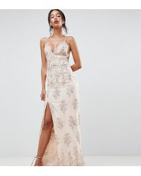Chi Chi London - Scalloped Plunge Maxi Prom Dress With Gold Embroidery - Lyst
