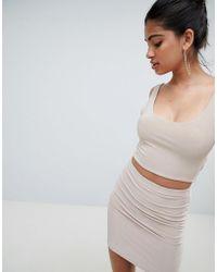 Fashionkilla - Longline Crop Top Coord In Nude - Lyst