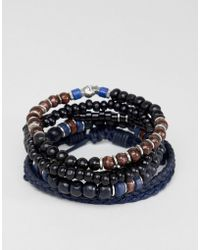 ASOS - Design Navy Bracelet Pack With Beads And Skull In Brown And Black - Lyst