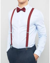 ASOS - Bow Tie And Braces Gift Set In Burgundy - Lyst