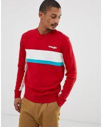 16e7562ed8eb Wrangler - Logo Chest Colourblock Stripe Crew Neck Sweatshirt In Red white  - Lyst