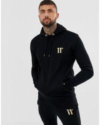 11 Degrees - Sudadera negra con capucha y logo dorado de - Lyst 1fa1b2e0d71ec