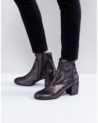 Miss Kg - Metallic Mid Heel Sock Boot - Lyst