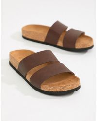 Monki - Double Strap Sandals In Brown - Lyst
