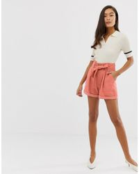 Miss Selfridge - Shorts With Paperbag Waist In Pink - Lyst