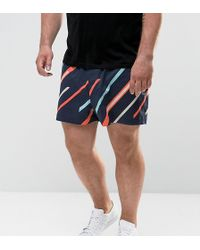 ASOS - Plus Slim Shorter Shorts With Elasticated Waist And Line Print - Lyst
