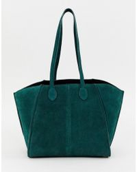 ASOS - Bonded Suede Winged Shopper Bag With Removable Inner - Lyst