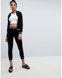 Juicy Couture - Black Label Velour Leggings With Logo Waistband - Lyst