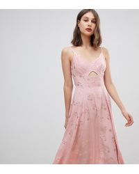 Warehouse - Low Back Strappy Jacquard Dress In Pink - Lyst