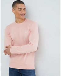 Abercrombie & Fitch - Core Icon Logo Crew Neck Knit Jumper In Pink - Lyst