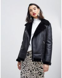 Vero Moda - Faux Fur Aviator Jacket - Lyst