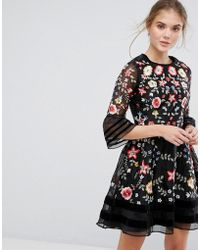 c784efdbbe Frock and Frill - Premium Embroidered Mini Dress With Exaggerated Sleeve -  Lyst