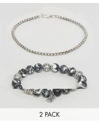 Icon Brand - Marbled Beaded & Silver Chain Bracelets In 2 Pack - Lyst