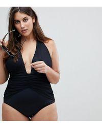 2ee147ca21d7d ASOS - Asos Design Curve Ruched Waist Plunge Swimsuit - Lyst