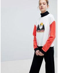 Daisy Street - High Neck Sweatshirt With Vintage Print - Lyst