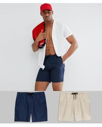 ASOS - Swim Shorts 2 Pack In Navy & Stone Mid Length Save - Lyst