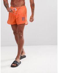 11 Degrees - Logo Swim Shorts In Orange - Lyst