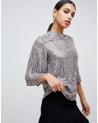 River Island - Sequin Blouse In Grey - Lyst