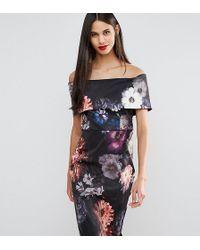 ASOS - Deep Fold Off The Shoulder Floral Midi Pencil Dress - Lyst