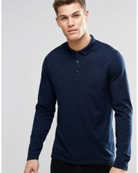 ASOS - Long Sleeve Jersey Polo In Navy - Lyst