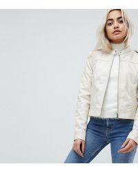 Vero Moda - Leather Look Biker Jacket - Lyst