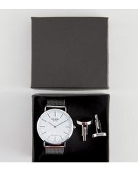 Reclaimed (vintage) - Inspired Classic Mesh Watch & Cufflinks Gift Set In Silver - Lyst