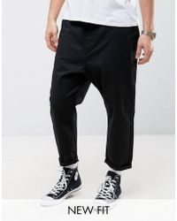 ASOS - Oversized Tapered Chino In Black - Lyst