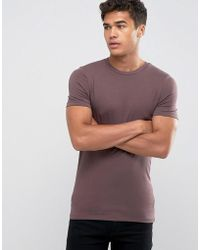 ASOS - Extreme Muscle Fit T-shirt With Crew Neck And Stretch In Brown - Lyst