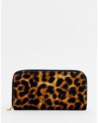 New Look - Velvet Large Purse In Leopard Print - Lyst