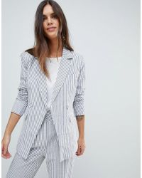 Y.A.S - Stripe Summer Double Breasted Blazer Co-ord - Lyst