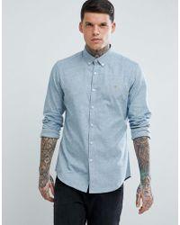 Farah - Steen Slim Fit Textured Oxford Shirt In Grey - Lyst