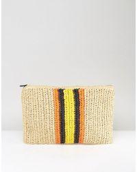Warehouse - Contrast Stripe Straw Clutch Bag - Lyst