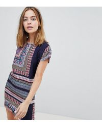 Noisy May Petite - Short Sleeve Festival Print Dress - Lyst