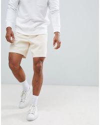 ASOS - Slim Shorts In Cream Heavyweight Washed Canvas With Elasticated Waistband - Lyst