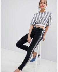 Mango - Foil Stripe Jeans In Black - Lyst