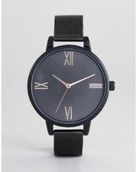 e5ea9e2efb5c ASOS - Reloj negro de malla en el mismo tono de ASOS DESIGN Curve - Lyst