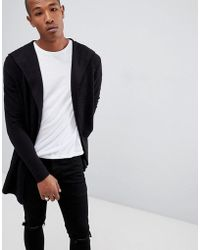 Bershka - Textured Cardigan With Hood In Black - Lyst