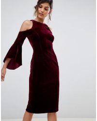 Coast - Celestine Velvet Cold Shoulder Dress - Lyst
