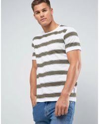 Mango - Man Striped T-shirt In Ecru - Lyst