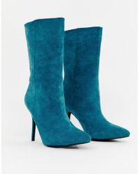 8420d2a21311 PrettyLittleThing - Faux Suede High Heeled Ankle Boot In Teal - Lyst