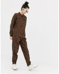 Daisy Street - Button Through Boiler Suit In Leopard Print - Lyst