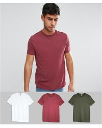 ASOS - T-shirt With Crew Neck 3 Pack Save - Lyst