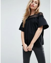 ASOS - Top With Mesh Panel And Swing Detail - Lyst