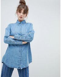 ASOS - Oversized Denim Shirt In Midwash Blue - Lyst