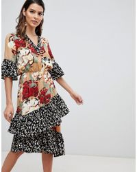 Y.A.S - Mix Print Tiered Ruffle Dress - Lyst