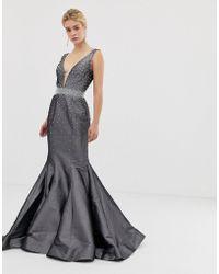 Jovani - Structured Fishtail Maxi Dress - Lyst