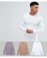 ASOS - Longline Long Sleeve Muscle Fit T-shirt 3 Pack Save - Lyst