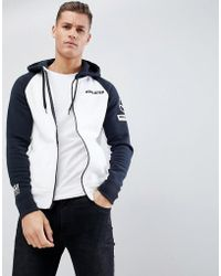 Hollister - Street Sport Full Zip Hoodie Contrast Sleeve & Hood Stripe Seagull Logo In White - Lyst