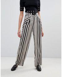 UNIQUE21 - Wide Leg Striped Trouser - Lyst